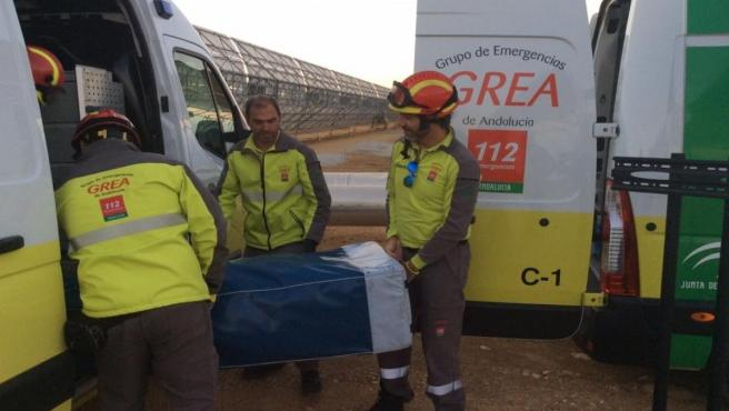 Actuación en el simulacro de emergencia de la planta solar de Sanlúcar la Mayor