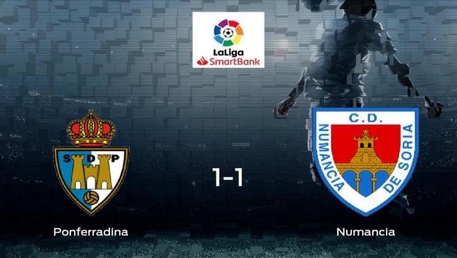 La SD Ponferradina y el Numancia empatan y suman un punto a su casillero (1-1)