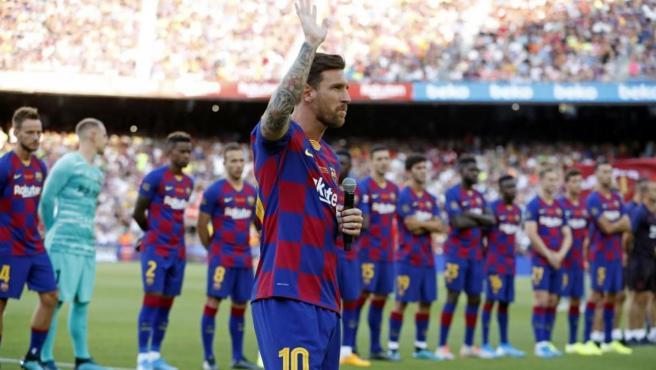 Leo Messi, en la presentación del FC Barcelona