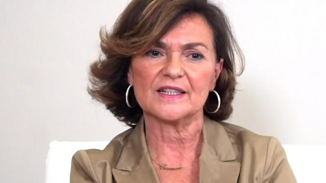 La vicepresidenta en funciones, Carmen Calvo.