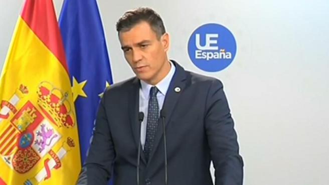 Pedro Sánchez, en Bruselas, tras su asistencia al Consejo Europeo.