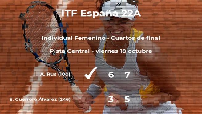 Eva Guerrero Álvarez cae eliminada en los cuartos de final del torneo de Sevilla