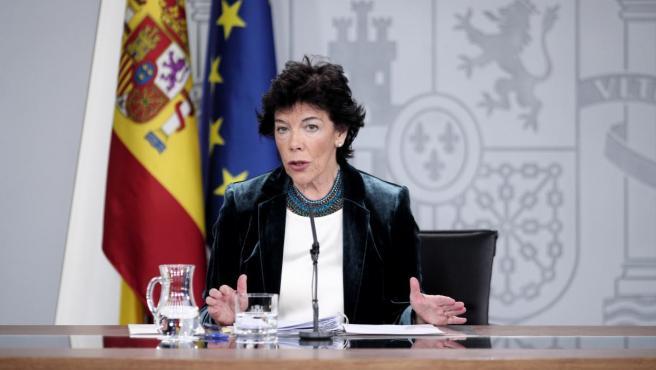 La ministra Portavoz del Gobierno, Isabel Celáa.