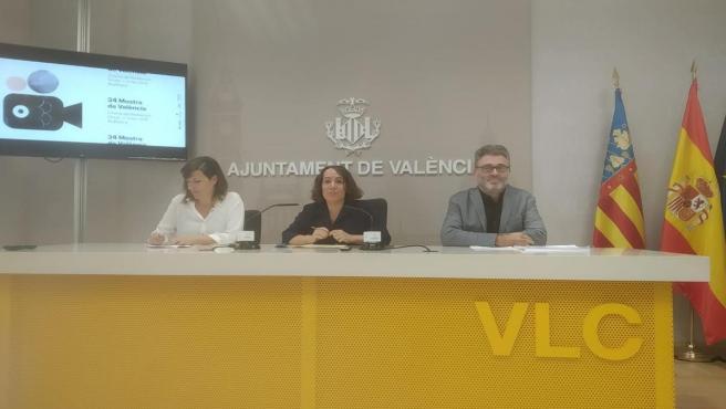 Rosa Roig, Glòria Tello y Eduardo Guillot. Presentación de La Mostra