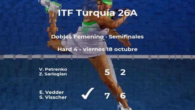 Las tenistas Vedder y Visscher se imponen en las semifinales del torneo de Antalya