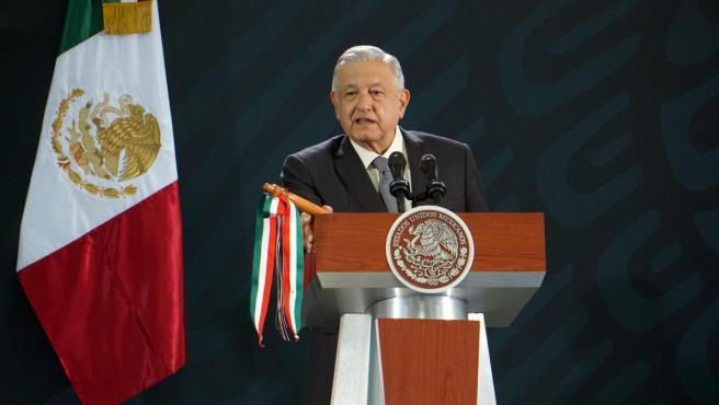 El presidente de México, Andrés Manuel López Obrador, durante su conferencia de prensa en la ciudad de Oaxaca (México).
