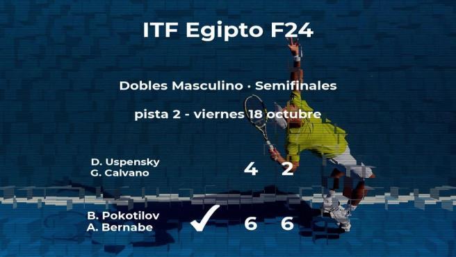 Los tenistas Pokotilov y Bernabe pasan a la final del torneo de Sharm El Sheikh