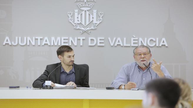 El vicealcalde de València, Sergi Campillo (Compromís), y el portavoz municipal del PSPV en funciones, Ramón Vilar, en una imagen reciente.
