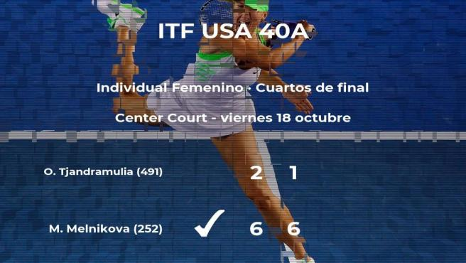 La tenista Marina Melnikova se clasifica para las semifinales del torneo de Florence