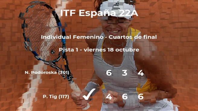 La tenista Patricia Maria Tig logra la plaza de las semifinales a expensas de Nadia Podoroska