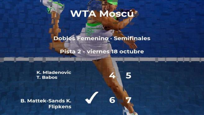 Las tenistas Mattek-Sands y Flipkens pasan a la siguiente fase del torneo WTA Premier de Moscú tras vencer en las semifinales