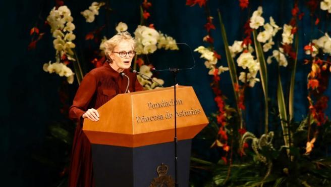 Siri Hustvedt durante su discurso en los Premios Princesa de Asturias.