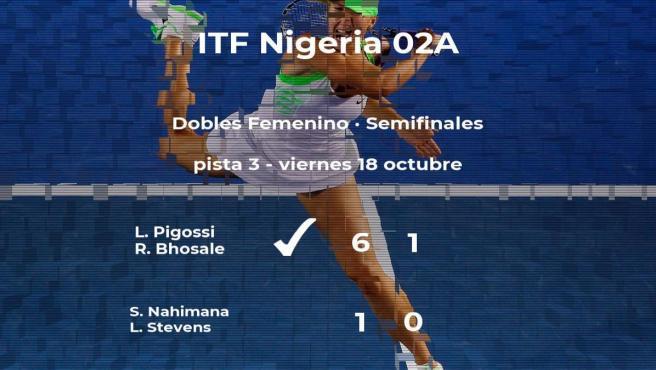 Las tenistas Pigossi y Bhosale le arrebatan la plaza de la final a Nahimana y Stevens
