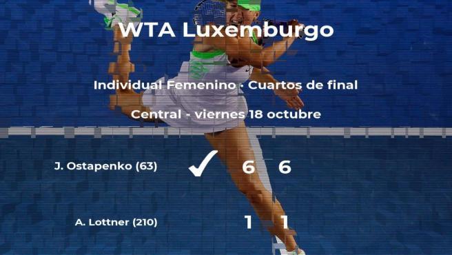 La tenista Jelena Ostapenko se clasifica para las semifinales del torneo WTA International de Luxemburgo