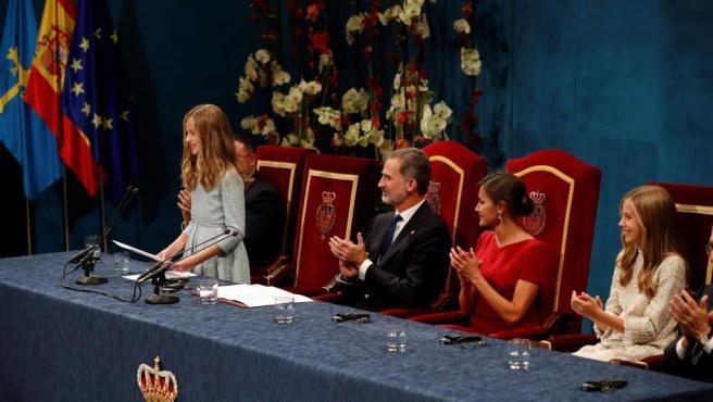 La princesa Leonor pronuncia su discurso por primera vez en la ceremonia de entrega de los Premios Princesa de Asturias 2019.