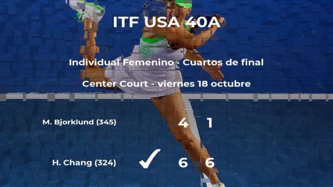 La tenista Hanna Chang estará en las semifinales del torneo de Florence