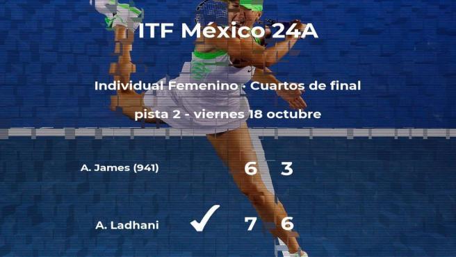 La tenista Arisha Ladhani consigue la plaza de las semifinales a expensas de Akilah James