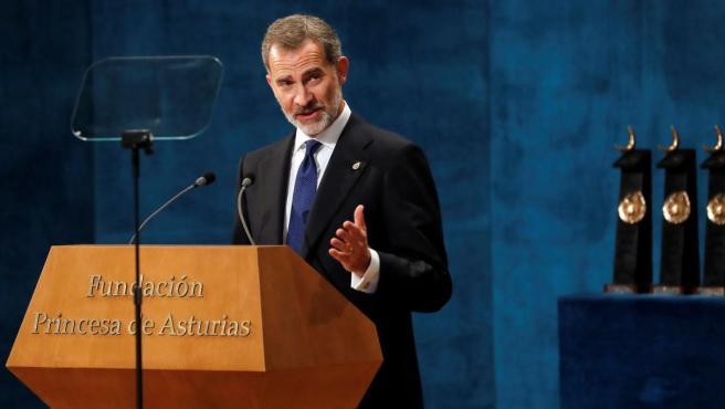 El rey Felipe VI, durante su discurso en los Premios Princesa de Asturias 2019.