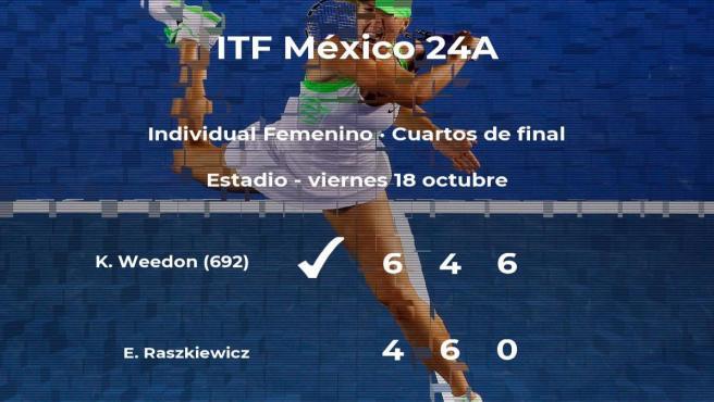 Kirsten-Andrea Weedon consigue la plaza de las semifinales a costa de la tenista Eva Raszkiewicz