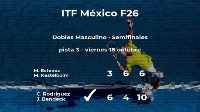 Los tenistas Rodríguez y Bendeck le arrebatan la plaza de la final a Estévez y Kestelboim