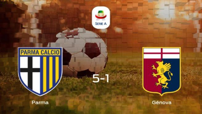Tres puntos para el casillero del Parma tras pasar por encima al Génova (5-1)