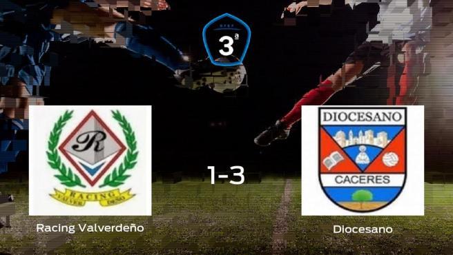 El CD Diocesano se lleva el triunfo tras vencer 1-3 al Racing Valverdeño