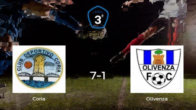 Goleada del Coria frente el Olivenza (7-1)