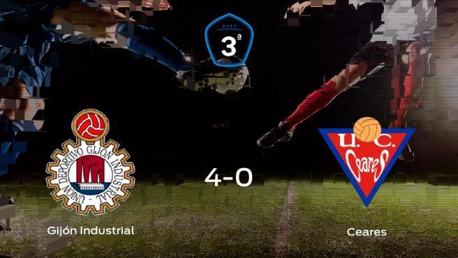 El Gijón Industrial muestra su poderío tras golear al UC Ceares (4-0)