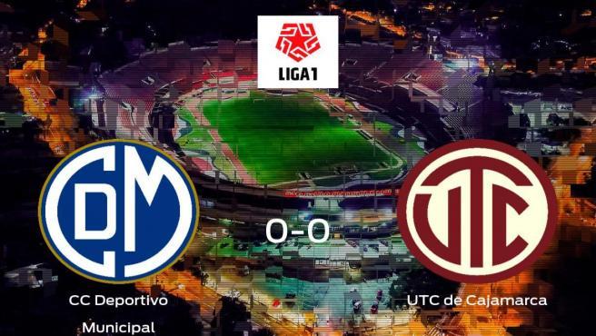 El CC Deportivo Municipal y el UTC de Cajamarca se reparten los puntos en el Estadio Ivan Elias Moreno (0-0)