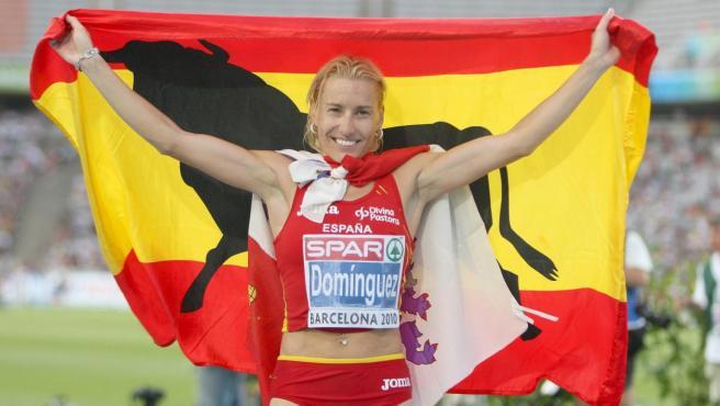 Marta Domínguez, durante el Campeonato de Europa de atletismo de 2010.