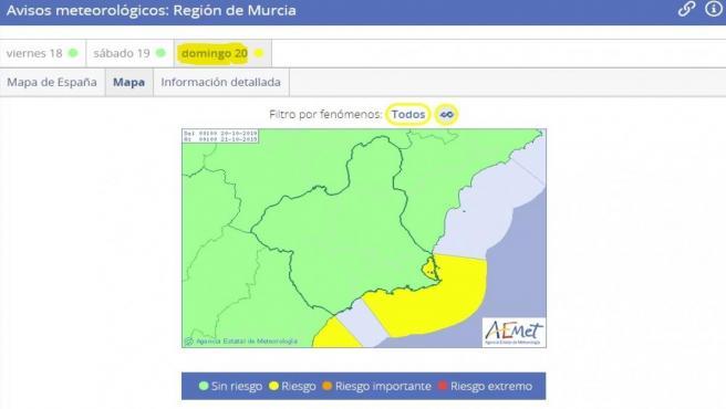 La Aemet mantiene la alerta amarilla por fenómenos costeros para este domingo