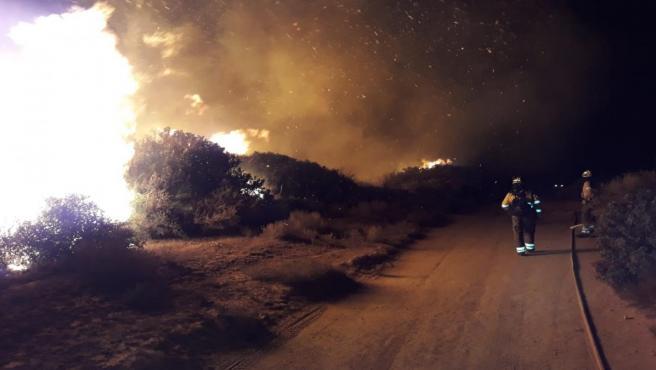 Efectivos del Plan Infoca trabajan en el incendio forestal de Manilva.