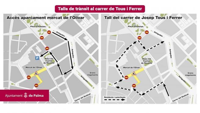 Mapa de los cortes en la circulación de la calle Tous i Ferrer de Palma por obras.