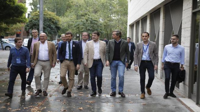 El presidente del PP, Pablo Casado, asiste a la inauguración de la XXV Unión Intermunicipal popular, en Valladolid (Castilla y León/España) a 19 de octubre de 2019.