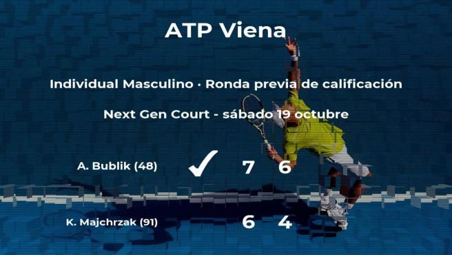 Alexander Bublik ganó a Kamil Majchrzak en la ronda previa de calificación del torneo ATP 500 de Viena