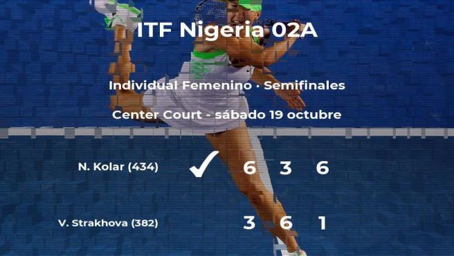 La tenista Nastja Kolar se clasifica para la final del torneo de Lagos