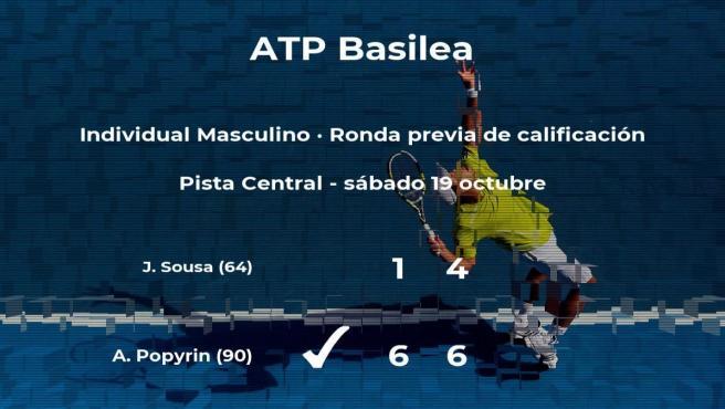 Alexei Popyrin pasa a la siguiente fase del torneo ATP 500 de Basilea