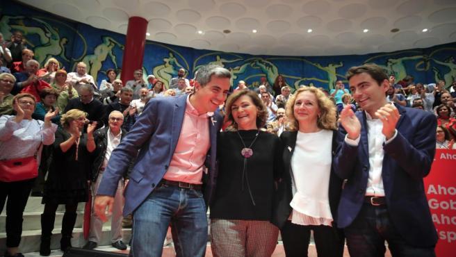 La vicepresidenta Carmen Calvo con Zuloaga, Casares e Isabel Fernández