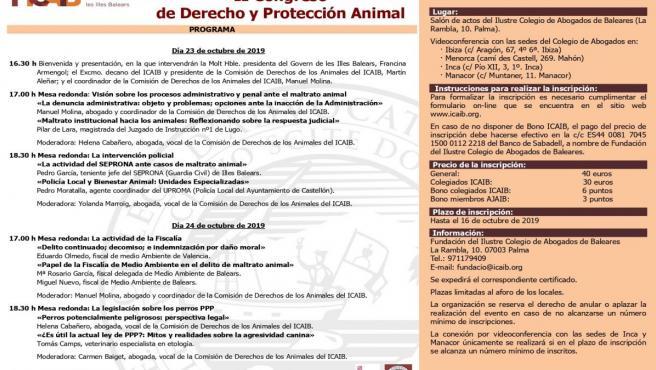 Programa del II Congreso de Derecho y Protección animal