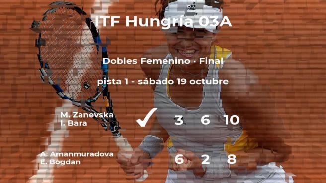 Zanevska y Bara vencieron a las tenistas Amanmuradova y Bogdan en la final del torneo de Szekesfehervar