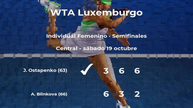 La tenista Jelena Ostapenko le arrebata la plaza de la final a Anna Blinkova