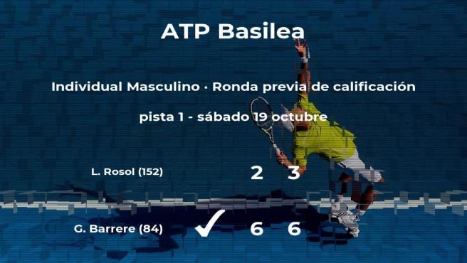 El tenista Gregoire Barrere gana en la ronda previa de calificación del torneo ATP 500 de Basilea