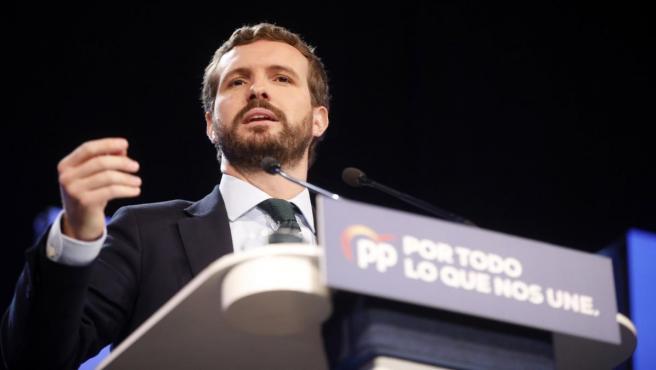 El presidente del PP, Pablo Casado, asiste a la inauguración de la XXV Unión Intermunicipal popular en Valladolid (Castilla y León/España) a 19 de octubre de 2019.