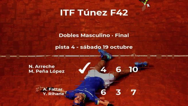 Los tenistas Arreche y Peña López ganaron a Fattar y Rihane en la final del torneo de Tabarka