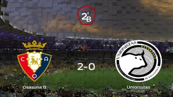 Tres puntos para el equipo local: Osasuna B 2-0 Unionistas