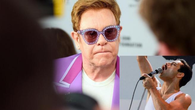 Elton John, con un fotograma de 'Bohemian Rhapsody'.