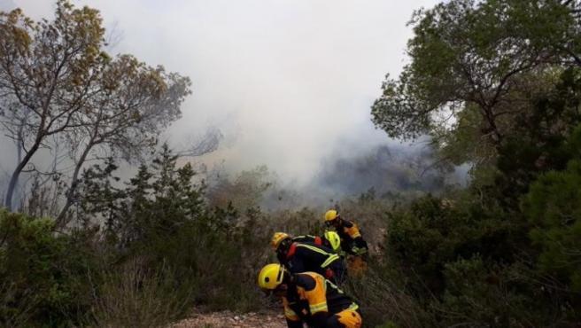 Efectivos del Ibanat trabajan en la zona de s'Estufador, donde se ha declarado un incendio nivel1