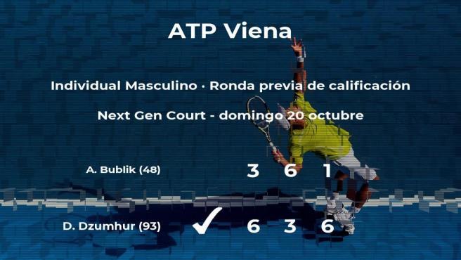 Damir Dzumhur gana en la ronda previa de calificación del torneo ATP 500 de Viena