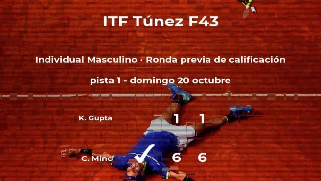 Charles Minc consigue ganar en la ronda previa de calificación a costa del tenista Koonwar Gupta