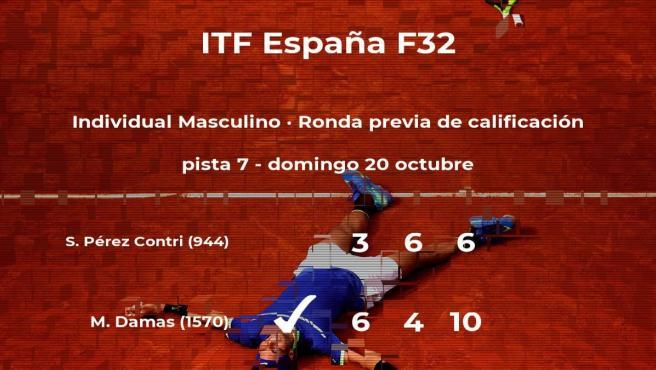 El tenista Miguel Damas vence en la ronda previa de calificación del torneo de Benicarló
